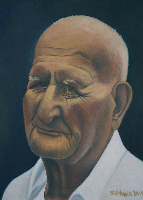Portrait Greeting Card featuring the painting Portrait Of Old Man In St. Louis by Stephen Degan