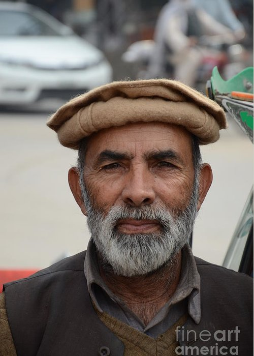 Man Greeting Card featuring the photograph Portrait Of Pathan Tuk Tuk Rickshaw Driver Peshawar Pakistan by Imran Ahmed