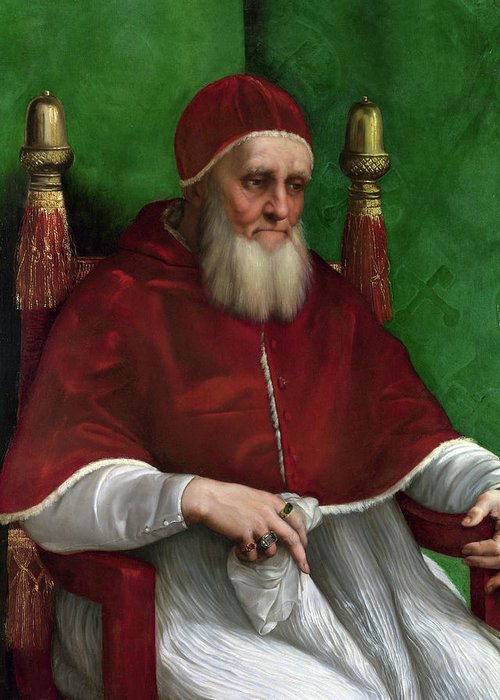 Raphael Greeting Card featuring the painting Portrait Of Pope Julius II - 1511 by Raphael