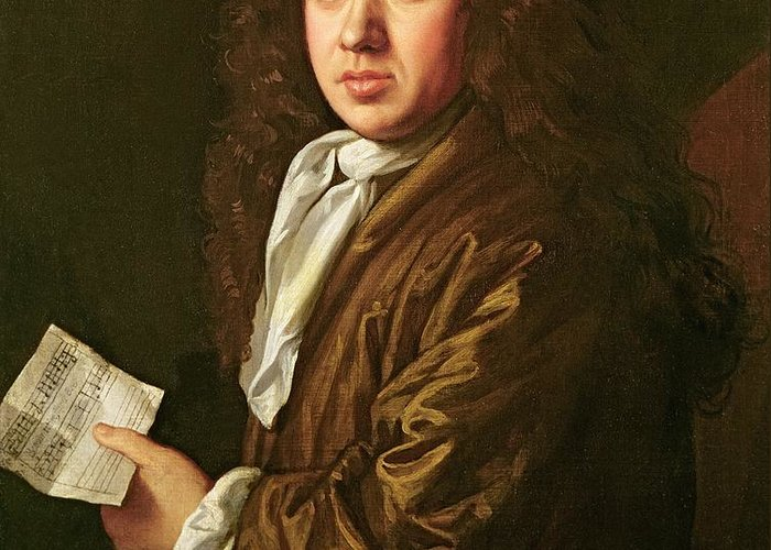 Diarist And Naval Administrator; Male; Neck Tie; Sheet Music; Musical Notes; Score; Writer; Pepys Greeting Card featuring the painting Portrait Of Samuel Pepys by John Hayls