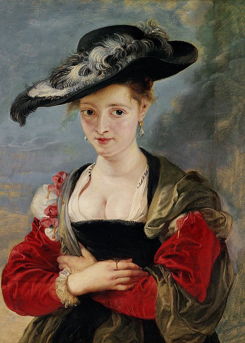 Portrait Of Susanna Lunden (le Chapeau De Paille) C.1622-25 (oil On Panel) By Peter Paul Rubens (1577-1640) Greeting Card featuring the painting Portrait Of Susanna Lunden by Peter Paul Rubens