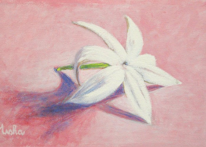 Portrait Greeting Card featuring the painting Portrait Of The Jasmine Flower by Usha Shantharam