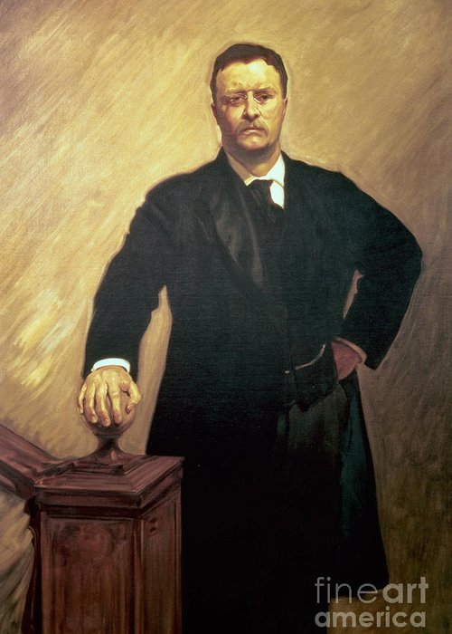 Portrait Greeting Card featuring the painting Portrait Of Theodore Roosevelt by John Singer Sargent
