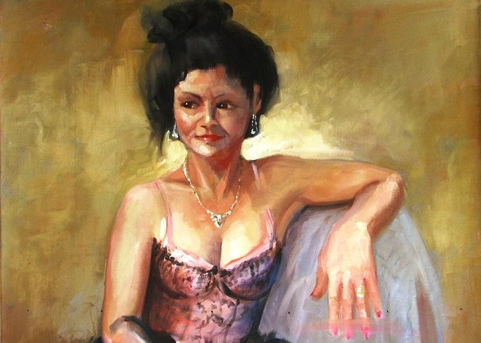 Portraits Greeting Card featuring the painting Portrait Sample by Podi Lawrence