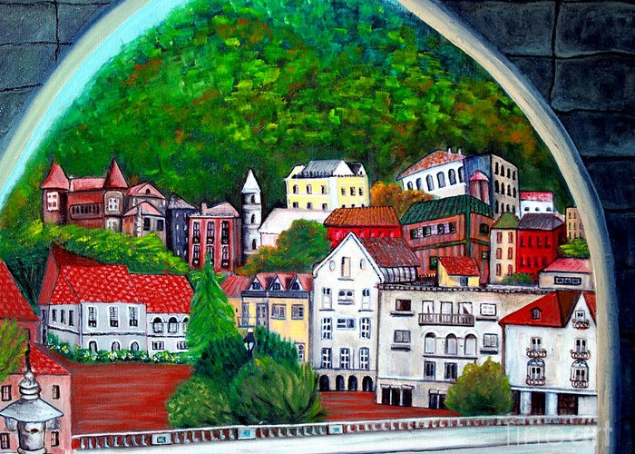 Town Greeting Card featuring the painting Portugal by Pilar Martinez-Byrne