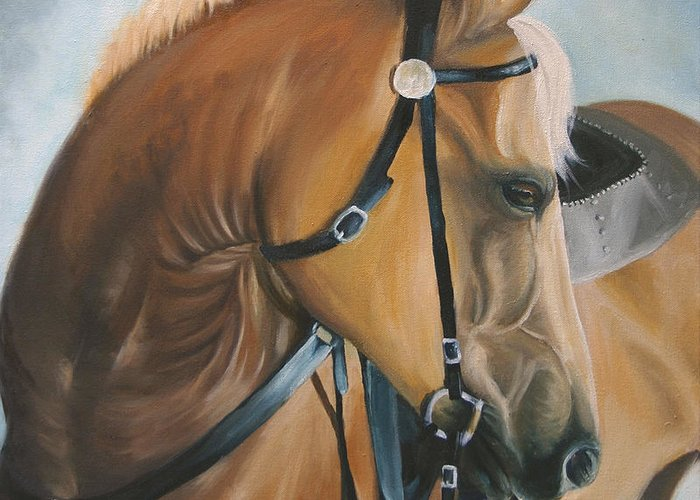 Palomino Greeting Card featuring the painting Posed by Karen Elkan