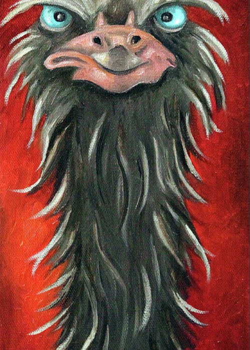 Ostrich Greeting Card featuring the painting Poser 3 by Leah Saulnier The Painting Maniac