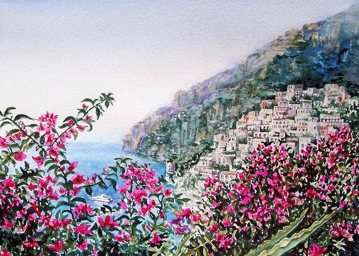 Italy Greeting Card featuring the painting Positano Italy by Irina Sztukowski
