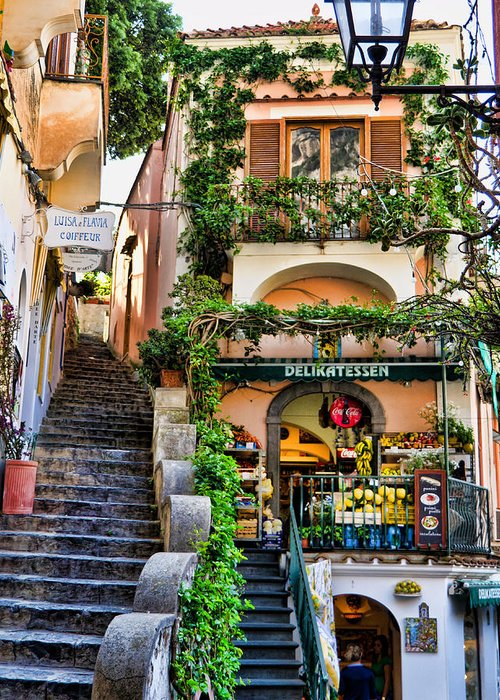 Positano Italy Greeting Card featuring the photograph Positano Shopping by Jon Berghoff