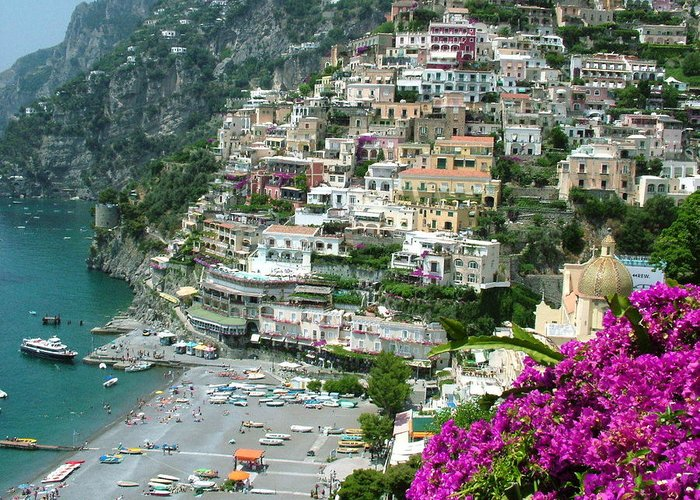 Positano Greeting Card featuring the photograph Positano's Beach by Donna Corless