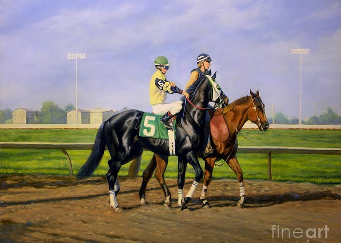 Horse Greeting Card featuring the painting Post Parade by Jeanne Newton Schoborg