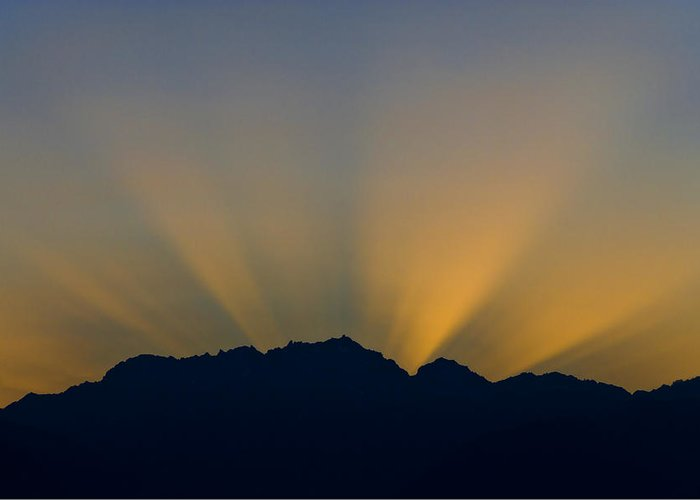 Fingers Of God Greeting Card featuring the photograph Post Sunset Sun Rays Over Mount Constance Olympic Mountains Wa by Ed Book
