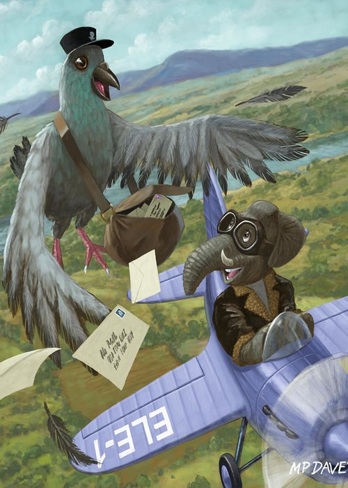 Pigeon Greeting Card featuring the painting Postal Bird by Martin Davey