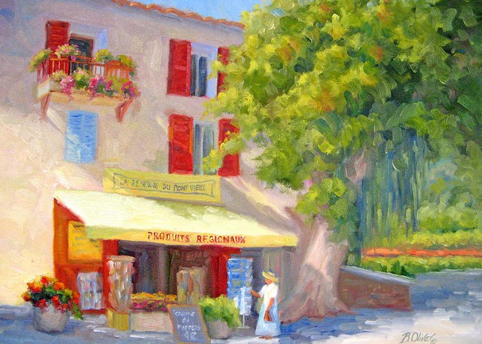Provence Greeting Card featuring the painting Postcard From Provence by Bunny Oliver