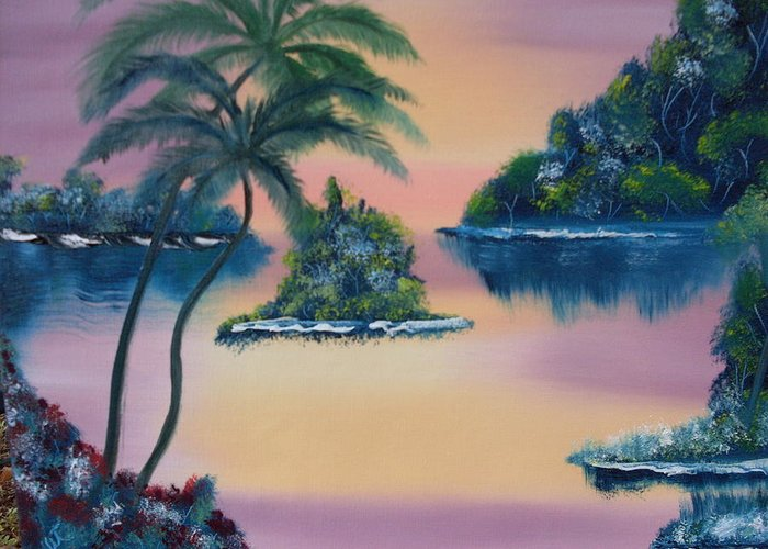 Landscape Oil Trees Seaside Sunset Greeting Card featuring the painting Postcard From The Keys by Warren Thompson