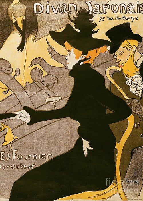 Poster Greeting Card featuring the painting Poster Advertising Le Divan Japonais by Henri de Toulouse Lautrec