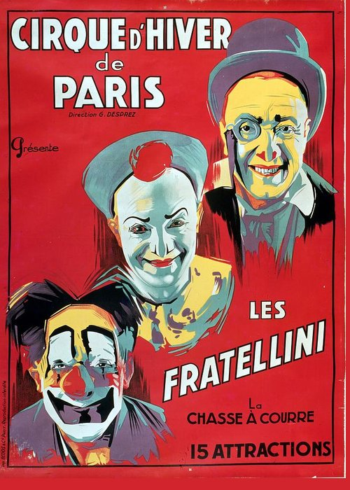 Poster Advertising The 'cirque D'hiver De Paris' Featuring The Fratellini Clowns Greeting Card featuring the painting Poster Advertising The Fratellini Clowns by French School