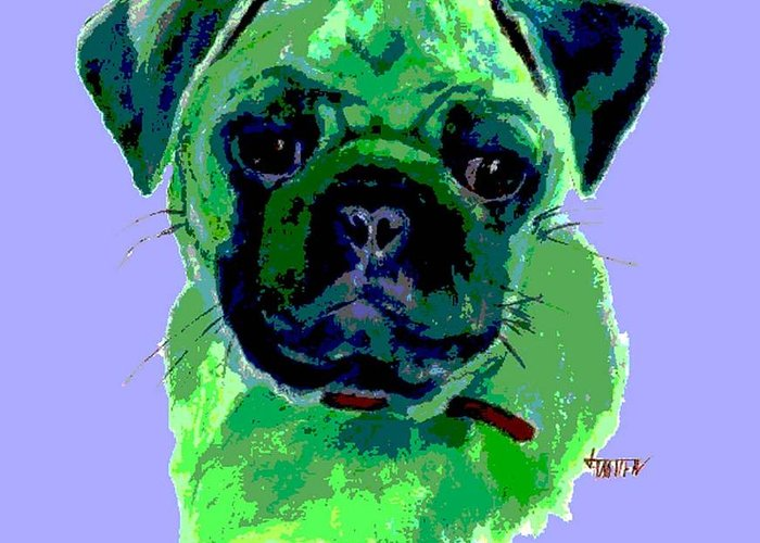 Animal Greeting Card featuring the painting Posterized Pug by Jimmie Trotter