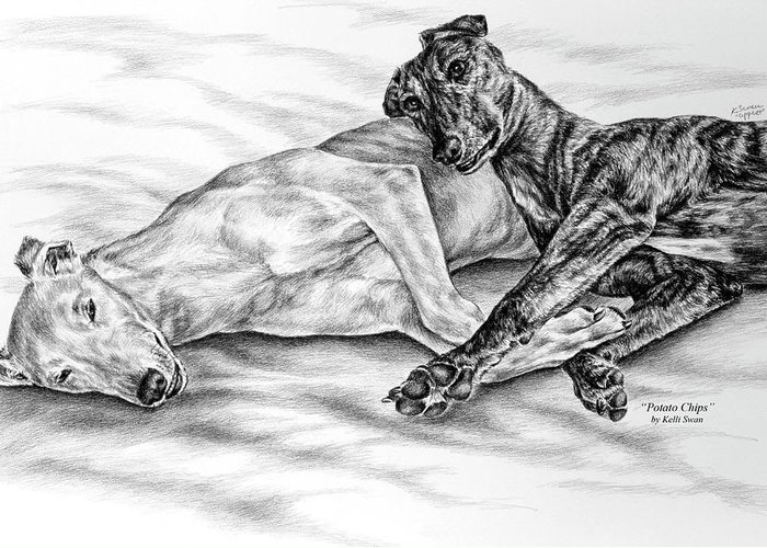 Greyhound Greeting Card featuring the drawing Potato Chips - Two Greyhound Dogs Print by Kelli Swan