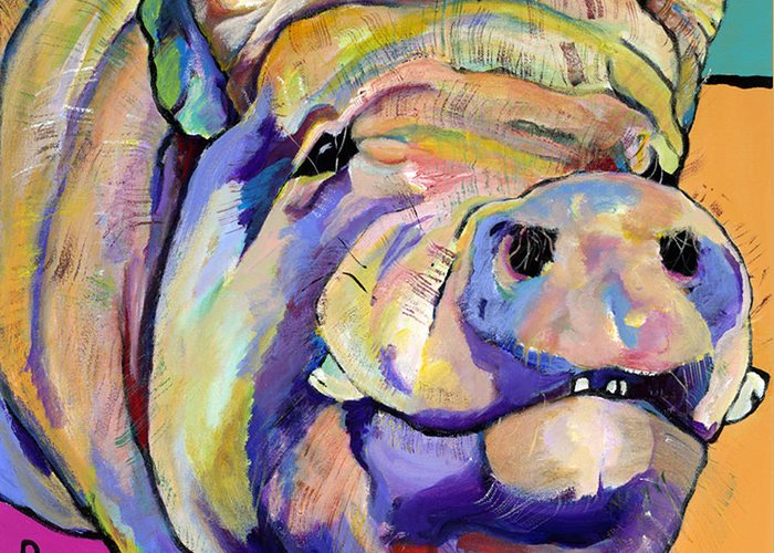 Pig Prints Greeting Card featuring the painting Potbelly by Pat Saunders-White