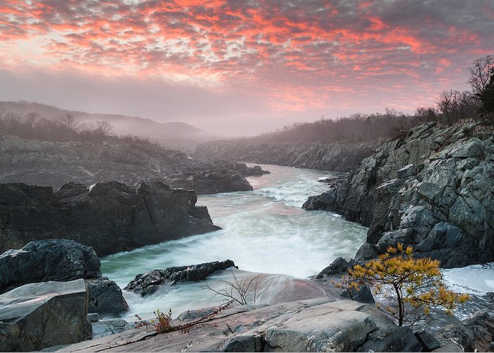 Potomac River Greeting Card featuring the photograph Potomac River At Great Falls Sunrise Landscape by Mark VanDyke