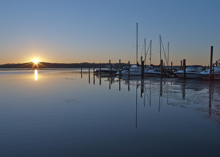 Belle Greeting Card featuring the photograph Potomac River Sunrise At Belle Haven Marina Virginia by Brendan Reals