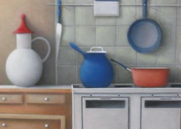 Greeting Card featuring the painting Pots On Stove by Alfredo DeCurtis