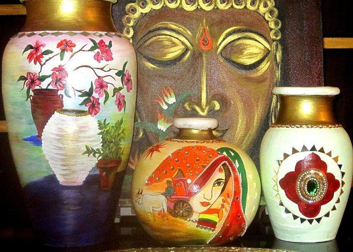 Golden Buddha Greeting Card featuring the ceramic art Pots by Xafira Mendonsa