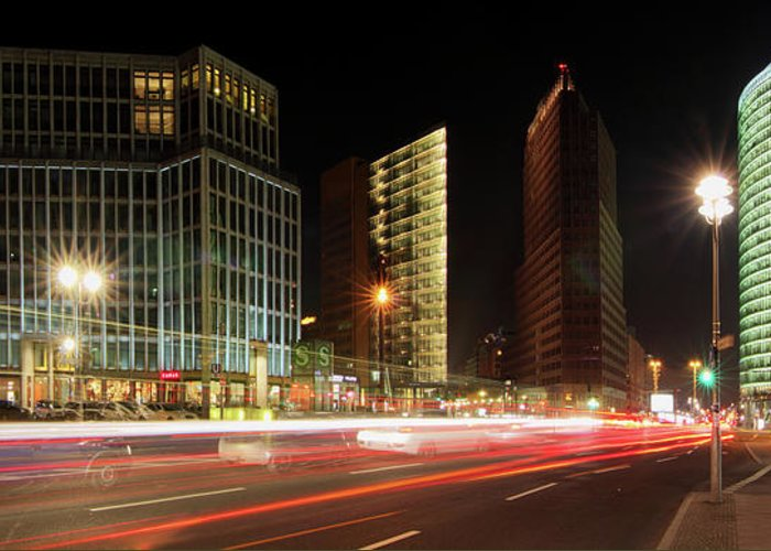 Berlin Greeting Card featuring the photograph Potsdamer Place by Marc Huebner