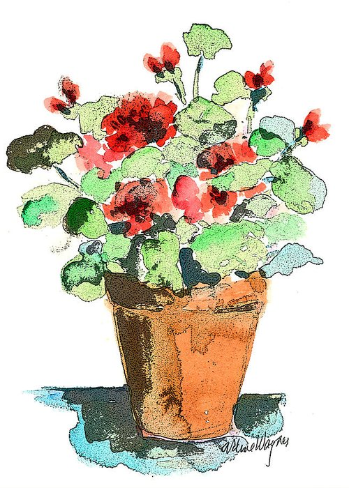 Plants Greeting Card featuring the painting Potted Geraniums by Arline Wagner