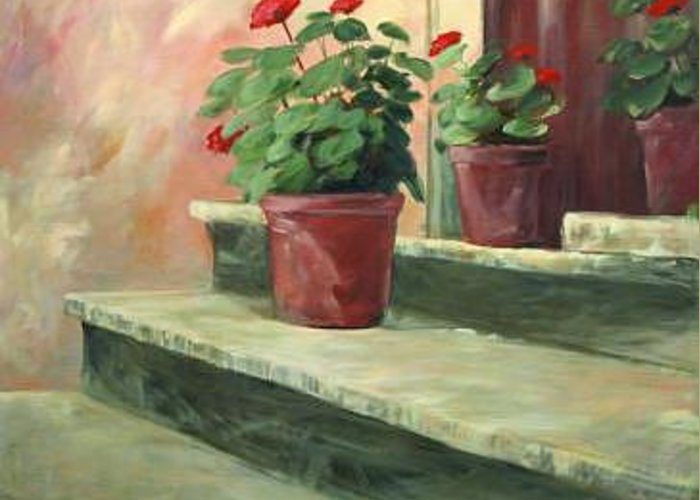 Flowers Greeting Card featuring the painting Potted Geraniums by Linda Eades Blackburn