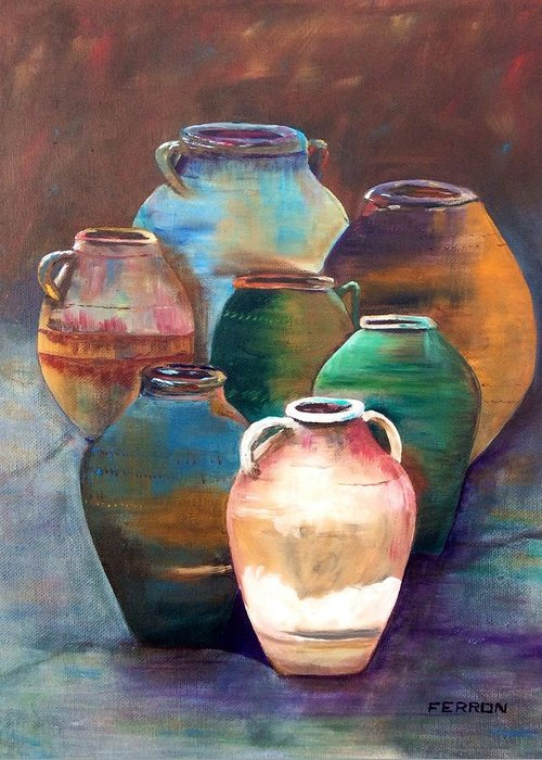 Pottery Jars Greeting Card featuring the painting Pottery Jars by Patti Ferron