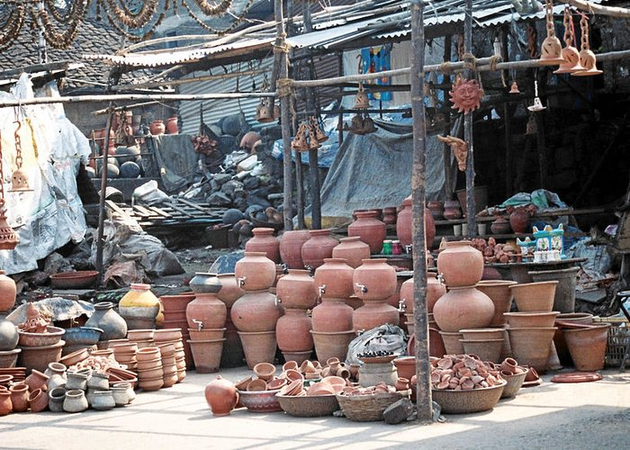 Indai Greeting Card featuring the photograph Pottery Shop In India by Diana Davenport