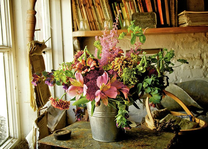 Blossom Greeting Card featuring the photograph Potting Shed Flowers by Gerry Walden
