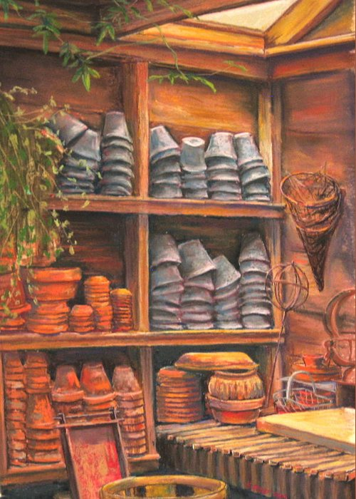 Potting Shed Greeting Card featuring the pastel Potting Shed by Sam Pearson