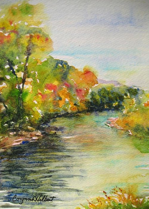 River Greeting Card featuring the painting Poudre Riverbend by Corynne Hilbert