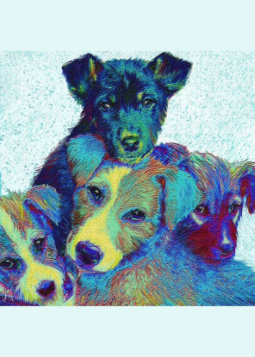 Puppies Greeting Card featuring the digital art Pound Puppies by Jane Schnetlage