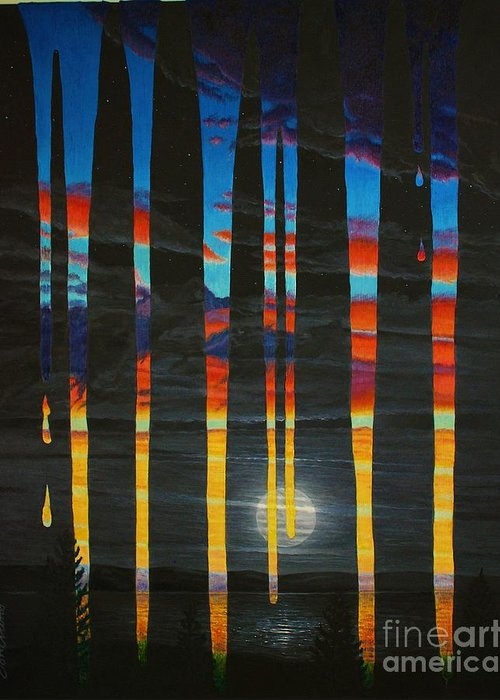 Landscape Greeting Card featuring the painting Poured Sunset On A Moonlit Night by Don Evans