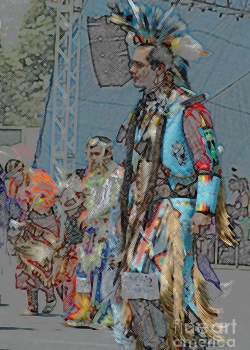 Native Greeting Card featuring the photograph Pow Wow Competition by Kathleen Struckle