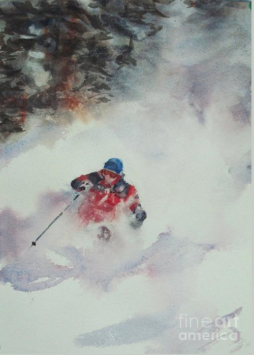 Skiing Greeting Card featuring the painting Powder by Elizabeth Carr