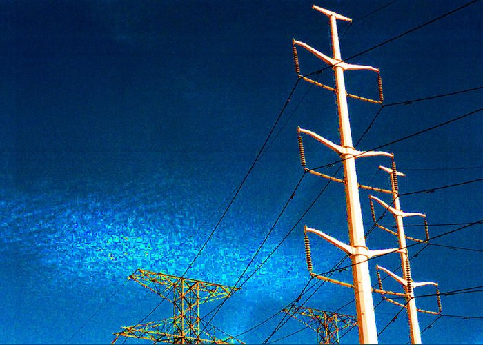 Sky Greeting Card featuring the photograph Power Line Light Clouds 2 by Lyle Crump