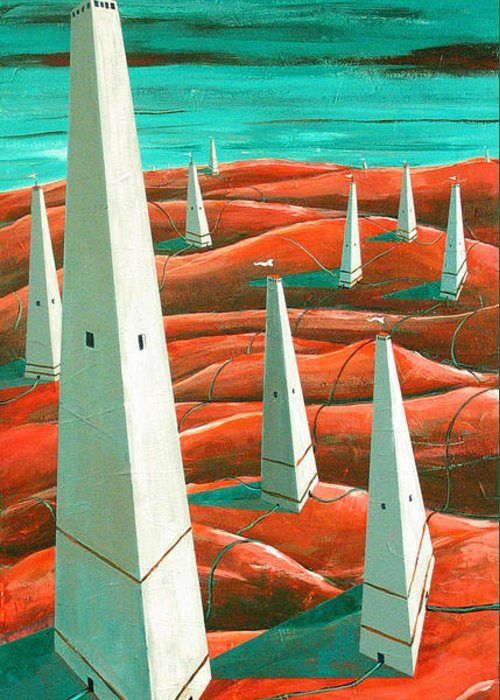 Landscape Greeting Card featuring the painting Power Tower by Rollin Kocsis