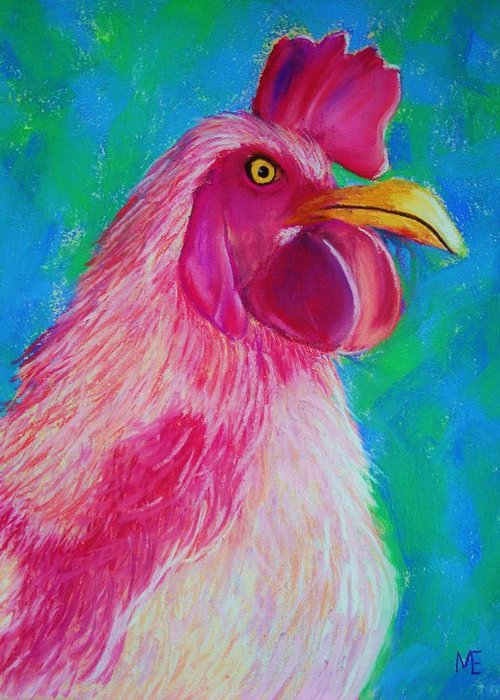 Rooster Greeting Card featuring the painting Powerful In Pink by Melinda Etzold