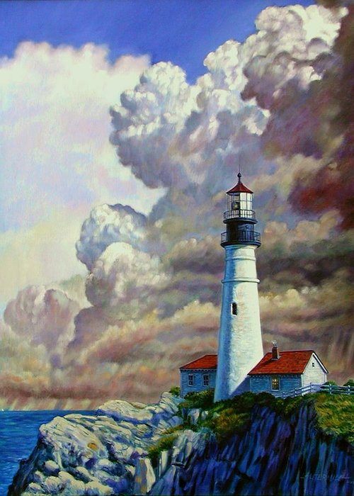 Lighthouse Greeting Card featuring the painting Powering Up by John Lautermilch