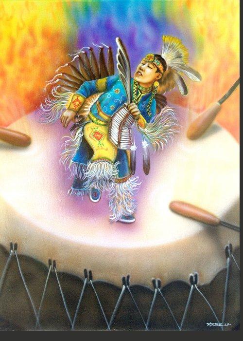 Powwow Dancer Greeting Card featuring the painting Powwow Dancer by Amatzia Baruchi