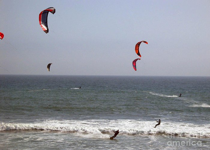 Seascape Greeting Card featuring the photograph pr 122 - Five Windsurfers by Chris Berry