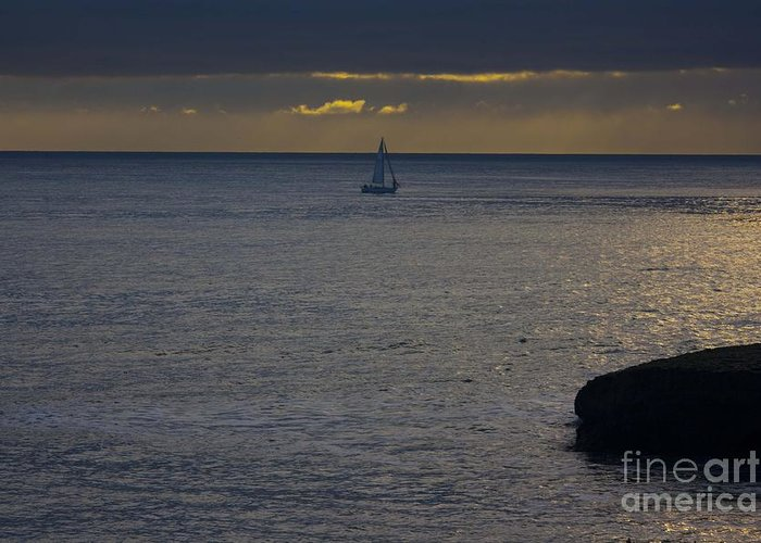 Ocean Greeting Card featuring the photograph pr 237 - Evening Sail by Chris Berry