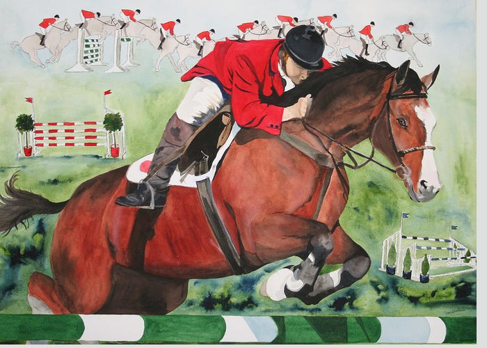 Horse Greeting Card featuring the painting Practice Makes Perfect by Jean Blackmer