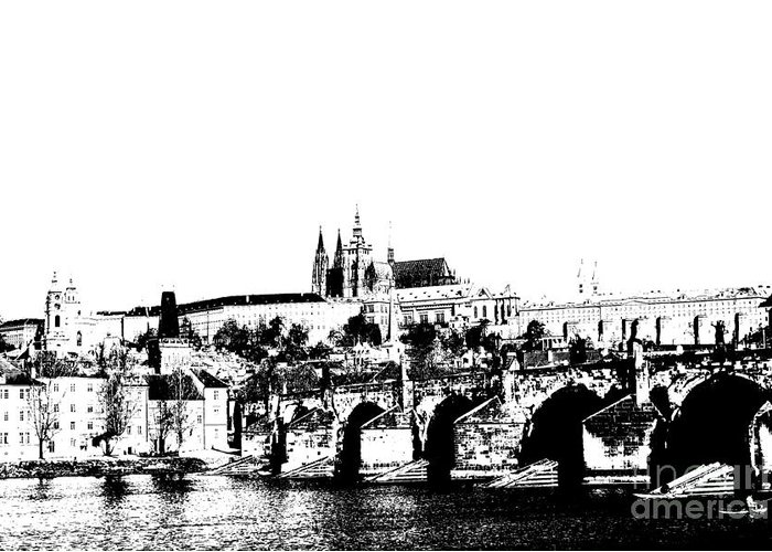 Prague Castle Greeting Card featuring the digital art Prague Castle And Charles Bridge by Michal Boubin