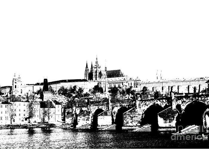 Prague Castle Greeting Card featuring the digital art Prague Castle And Charles Bridge by Michal Boubin